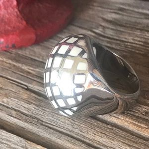 White &Stainless Steel Lattice Cocktail Ring